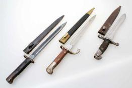 3 Bajonette - Brasilien, Spanien, Portugal Brasilien: Bajonett M1908 zum Mausergewehr M1908,
