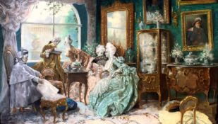 """Rokokoszene im Salon"" - Juan Pablo Salinas y Teruel (1871-1946) Pastellfarben auf Papier,"