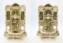 """2 Skulpturen """"Chinesisches Kaiserpaar"""" 1.) Die gesamte Skulptur """"Chinesischer Kaiser"""" aus"""