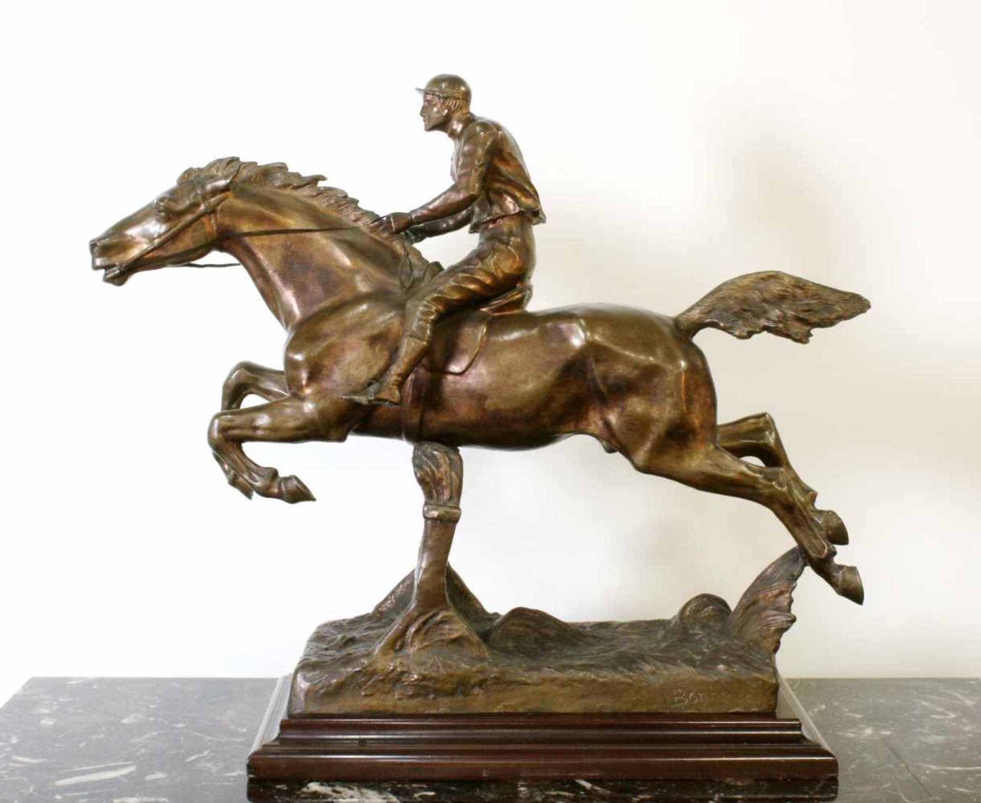 """Bronzeskulptur """"Jockey im Hürdenrennen"""" nach Isidor Jules Bonheur (1827-1901) Die Skulptur aus"""