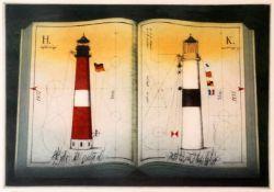 "Farbradierung ""2 Leuchttürme"" - Alois Janak (*1924) Auf Papier, unten rechts signiert und datiert ("