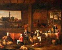 """""""Tiere in der Scheune"""" - Peter Angillis (1685 - 1734) Öl auf Leinwand, unsigniert - zugeschrieben,"""