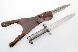 Schweden - Dolchbajonett M1896 Beidseitig, gekehlte Klinge, diverse Abnahmen auf Fehlschärfe, hohler