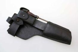 1. Weltkrieg - Belederung zum Holzkasten der Pistole Mauser C96 Geschwärztes Rindsleder,