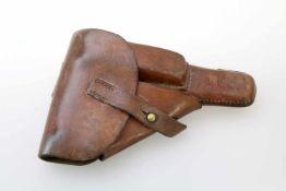 Dänemark - Pistolentasche zur Pistole FN HP Mod. 1946 Tasche aus mittelbraunem Leder mit Magazinfach