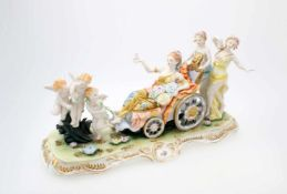 """""""Venus im Wagen"""" - unbekannte Manufaktur Große Figurengruppe, Venus mit Blumen im Wagen sitzend,"""