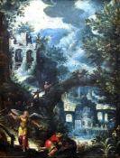 """""""Überfall am Fluss"""" - unbekannter Maler um 1820 Öl auf Kupferplatte, nächtliche Szene der Plünderung"""
