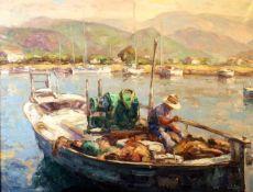 """""""Fischerboot im Hafen"""" - Antonio de la Pena (*1938) Öl auf Leinwand, unten rechts signiert,"""