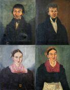 4 Biedermeier Gemälde eines Ehepaares 1820/1840 Öl auf Leinwand, unsigniert, die Gemälde zeigen