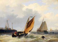 """""""Stürmische Hafenausfahrt"""" - Willem Gruyter jr. (1817-1880) Öl auf Holz, mehrere Fischkutter bei der"""