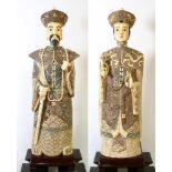 """China - 2 imposante Skulpturen """"Chinesisches Kaiserpaar""""Die gesamte Skulptur """"Chinesischer Kaiser"""""""