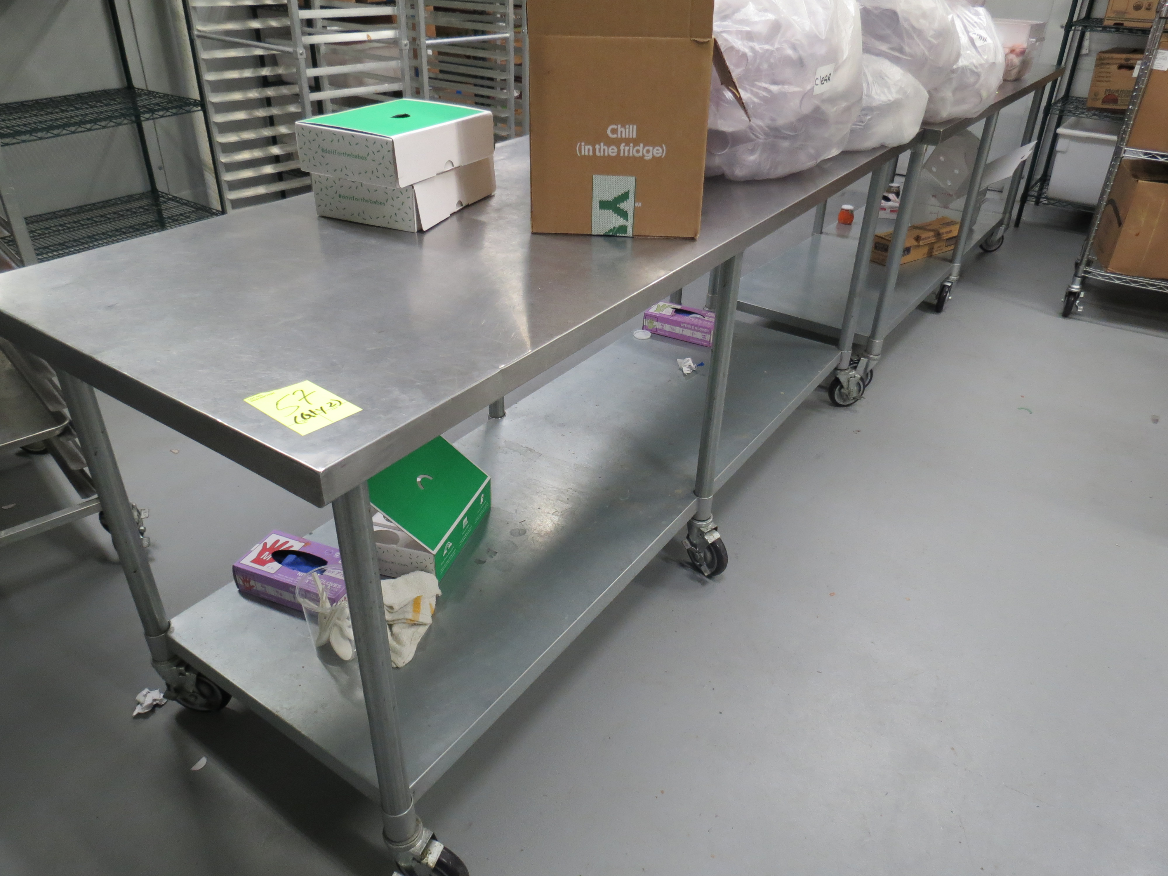 "Lot 57 - STAINLESS STEEL MOBILE PREP TABLE, 30"" x 84"""