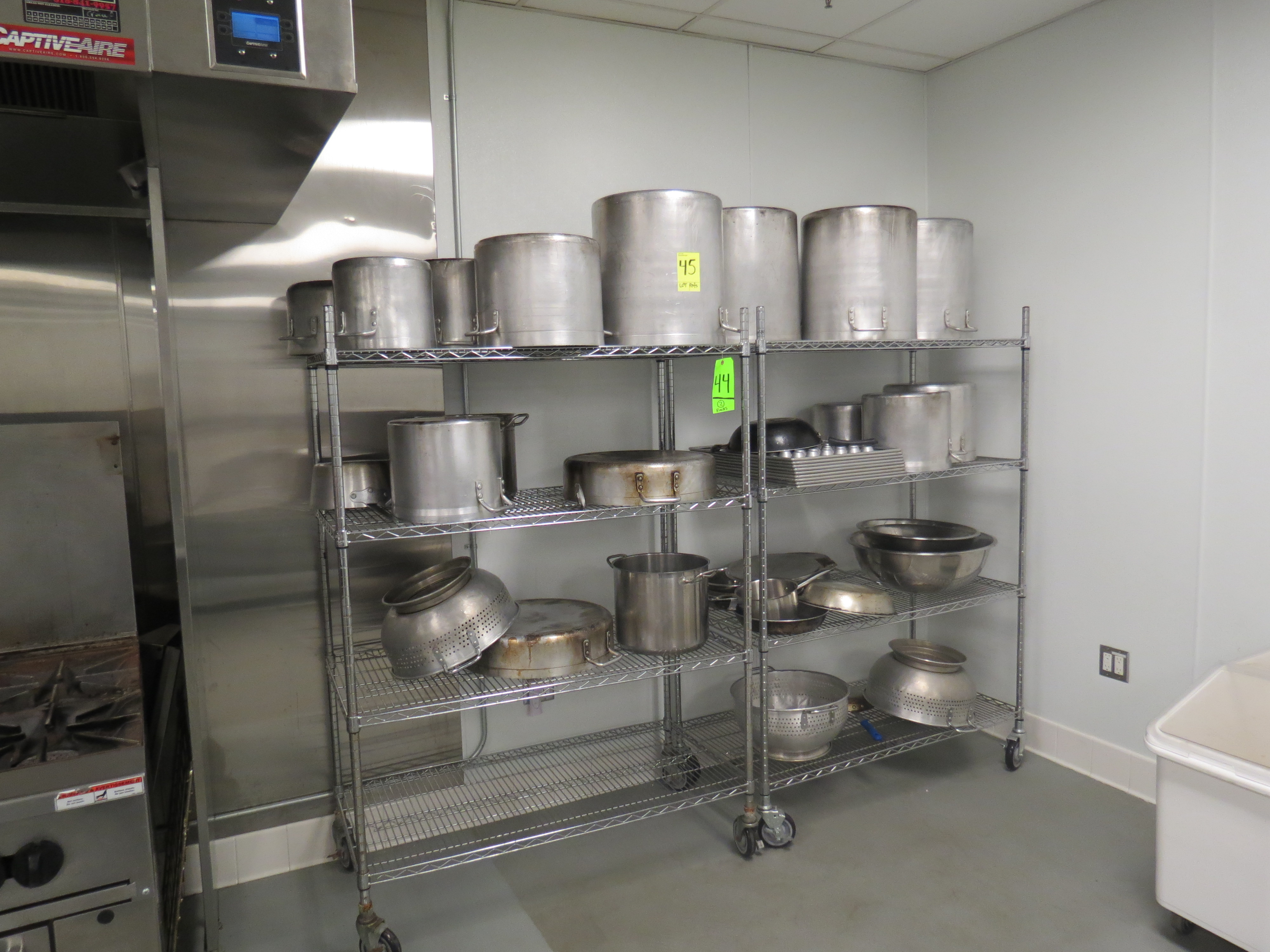 Lot 45 - LOT ASSORTED STAINLESS AND ALUMINUM POTS