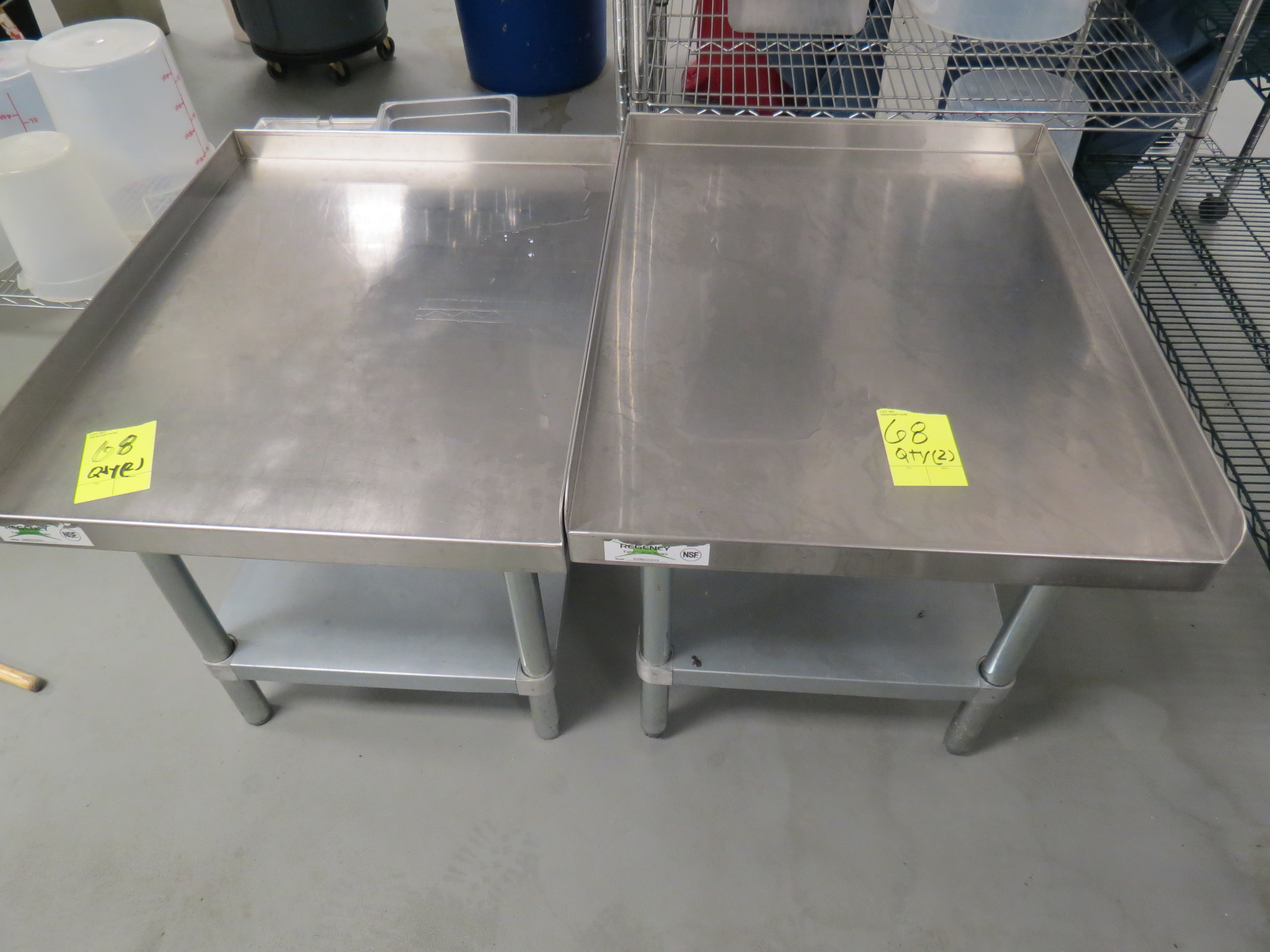 Lot 68 - SMALL STAINLESS STEEL TABLES