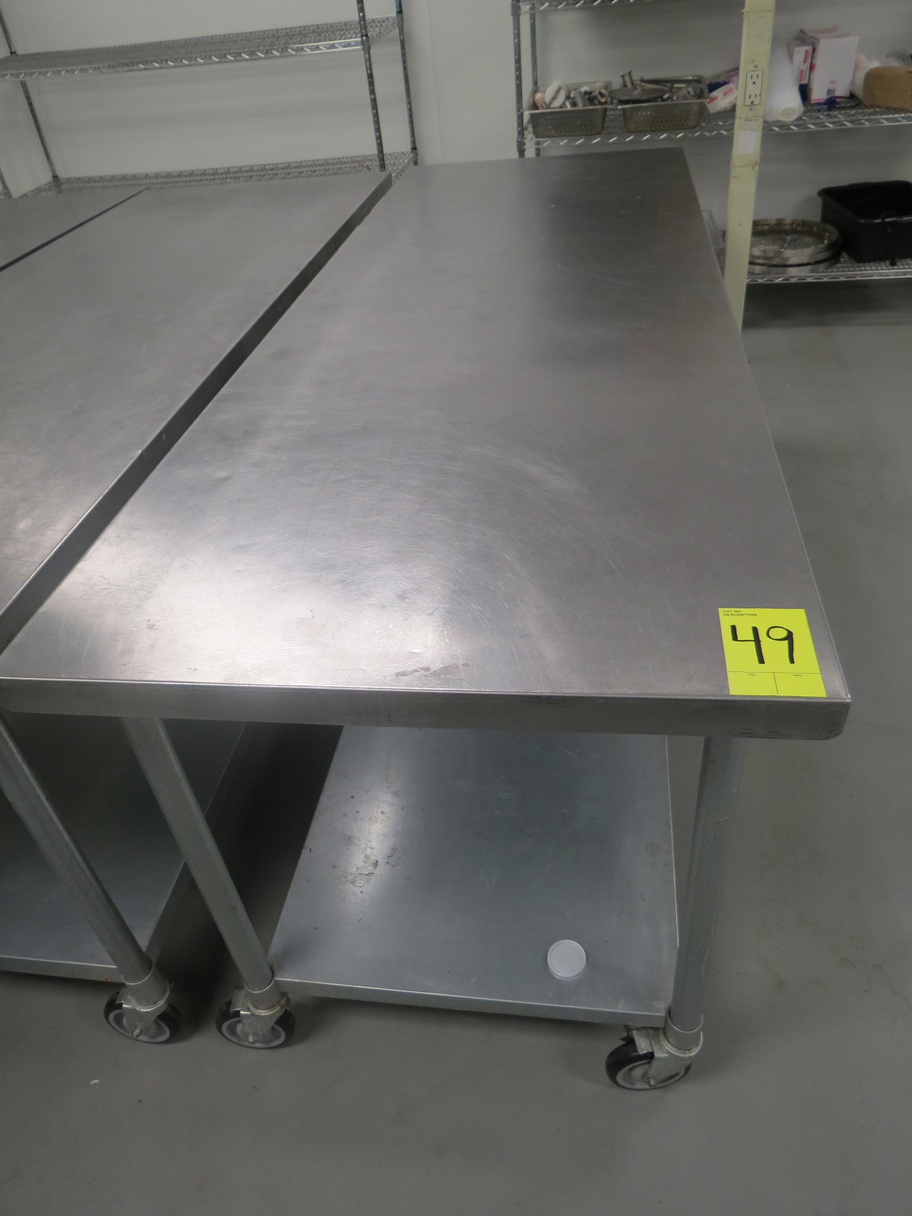 "Lot 49 - STAINLESS STEEL MOBILE PREP TABLE, 30"" x 84"""
