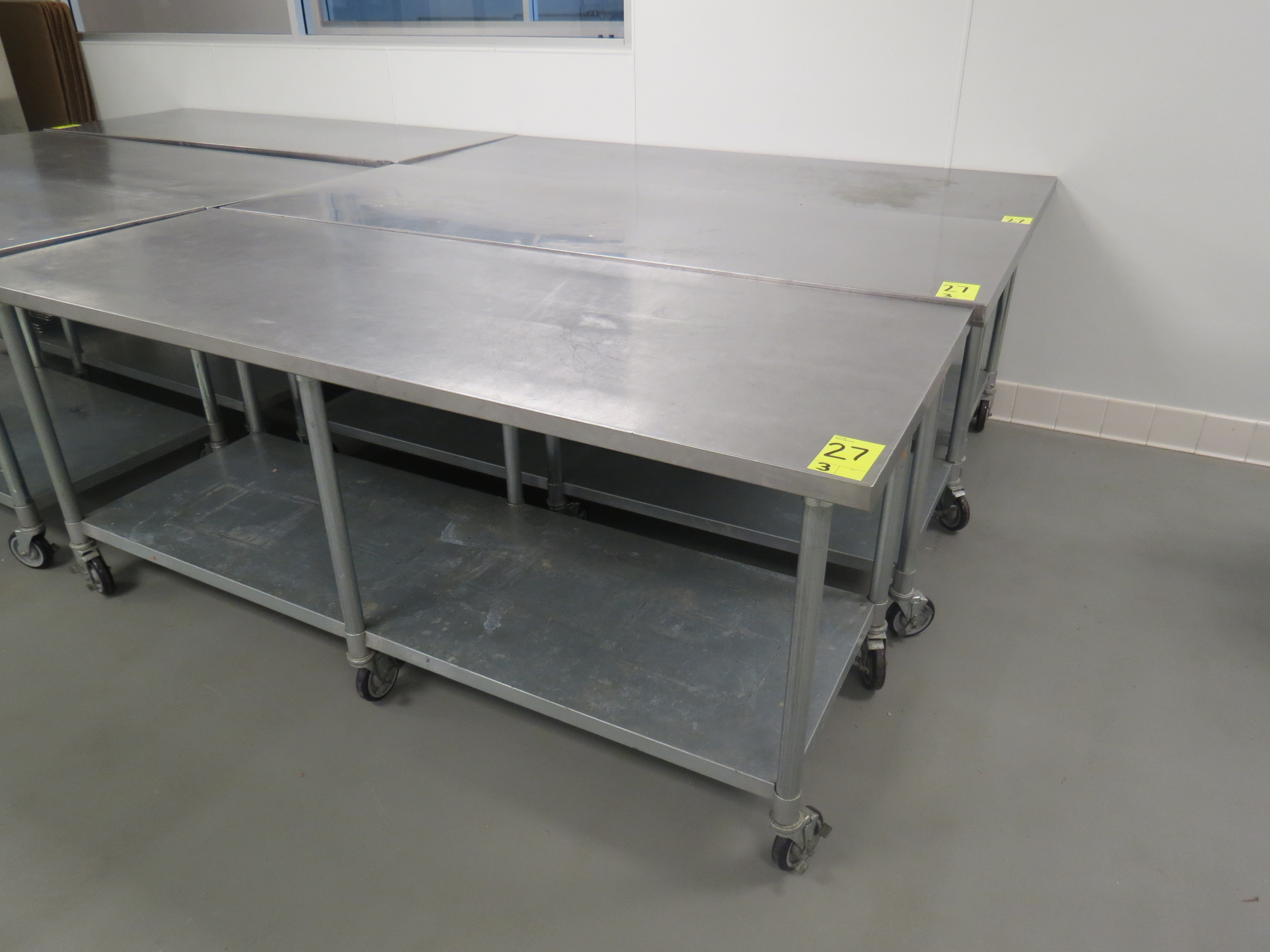 """Lot 27 - STAINLESS STEEL MOBILE PREP TABLES, 30"""" x 84"""""""