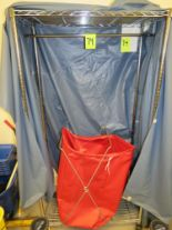 Lot 74 - LOT MOBILE GARMENT RACK AND LAUNDRY BASKET