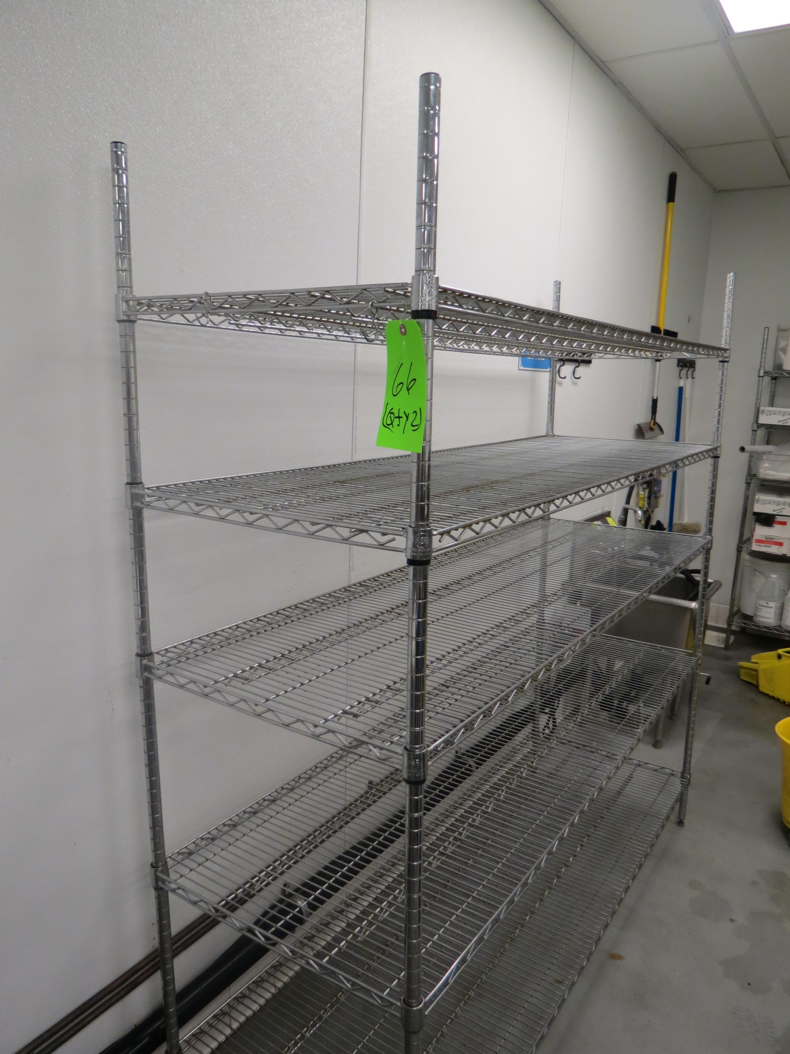 Lot 66 - LOT 2-ASSORTED CHROME WIRE RACKS WITH CONTENTS