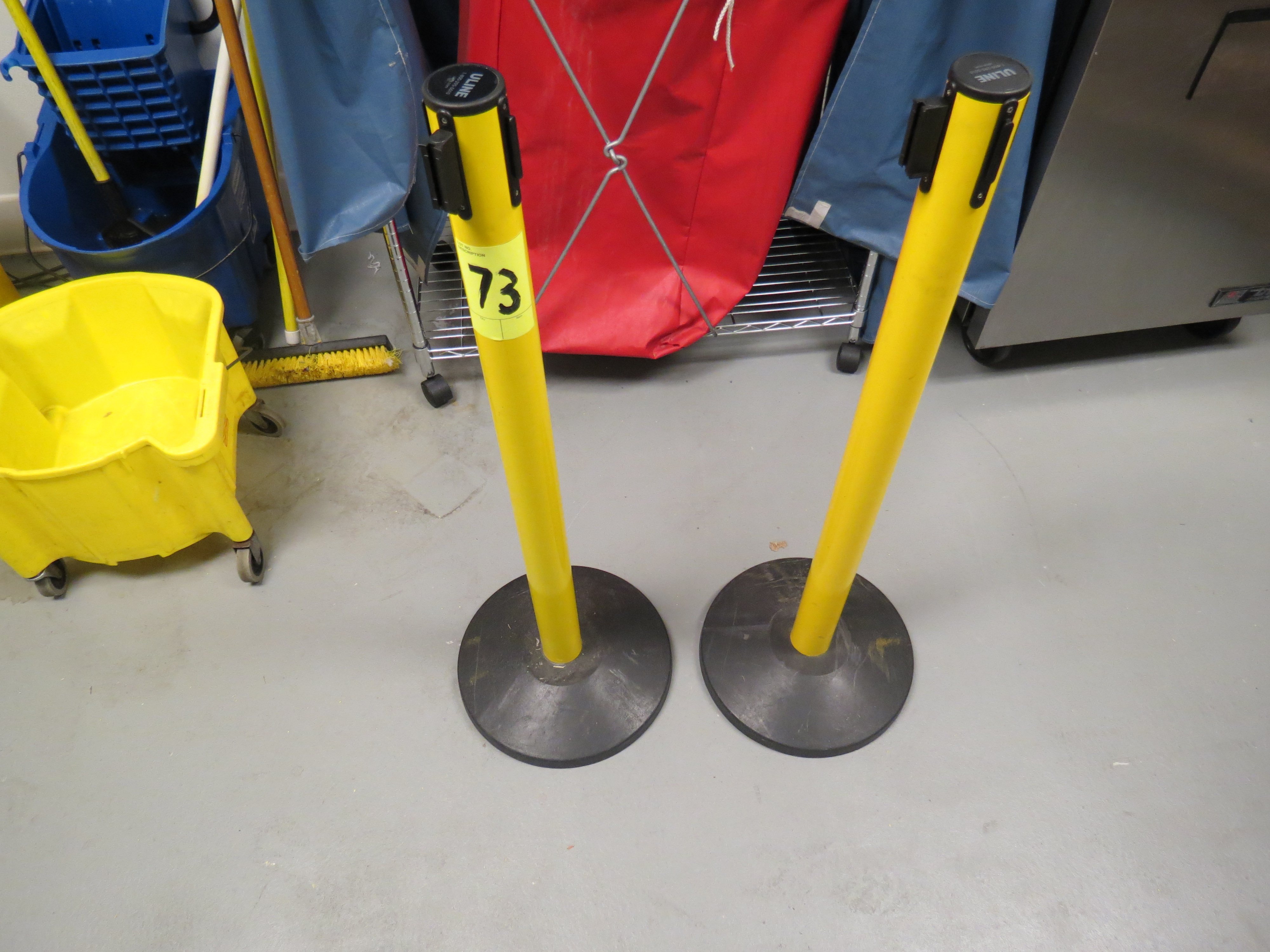Lot 73 - ULINE CROWD CONTROL BARRIER POSTS WITH RETRACTABLE BELT