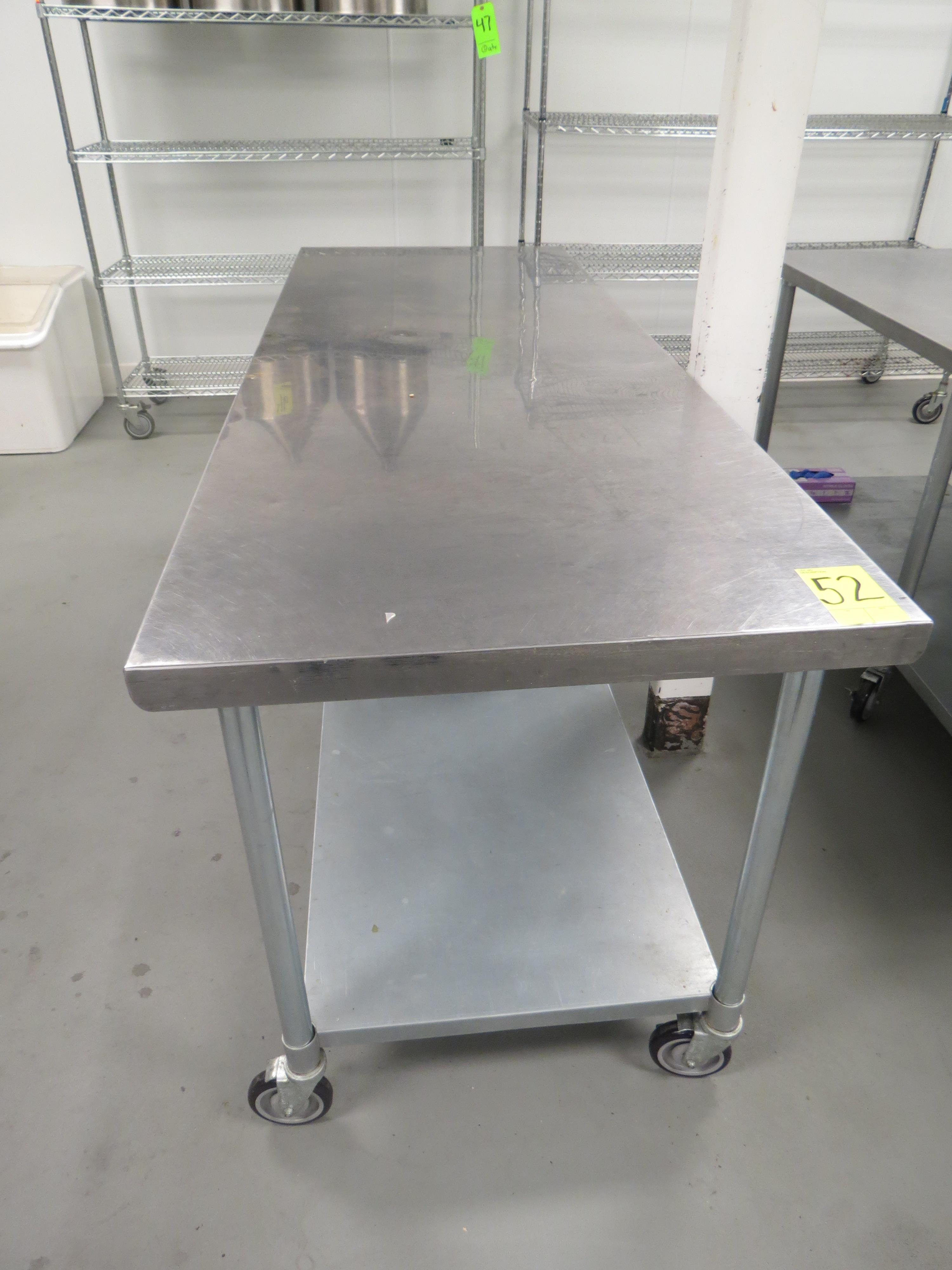 "Lot 52 - STAINLESS STEEL MOBILE PREP TABLE, 30"" x 84"""