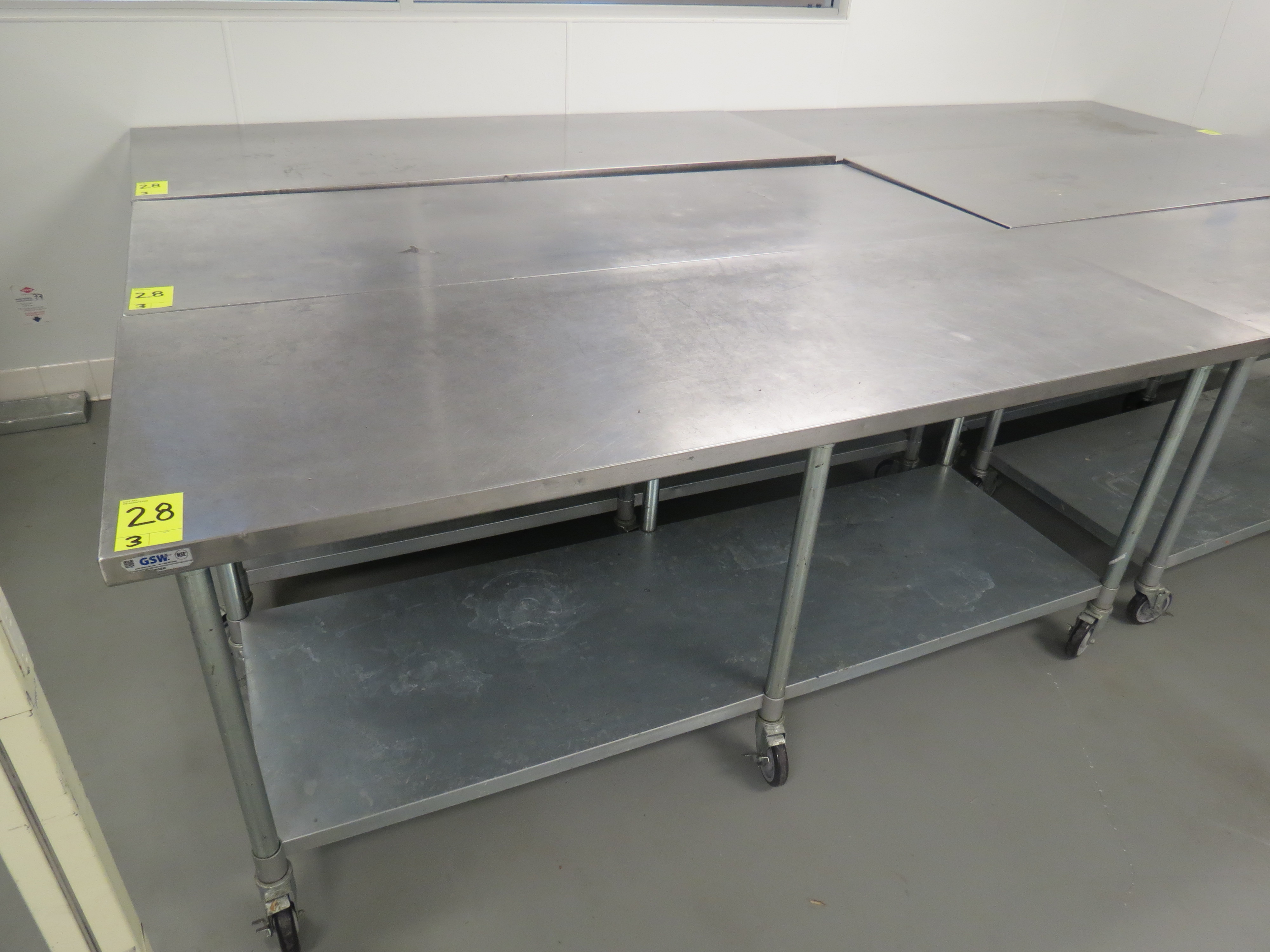 """Lot 28 - STAINLESS STEEL MOBILE PREP TABLES, 30"""" x 84"""""""