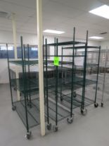 Lot 33 - ASSORTED GREEN MOBILE WIRE RACKS