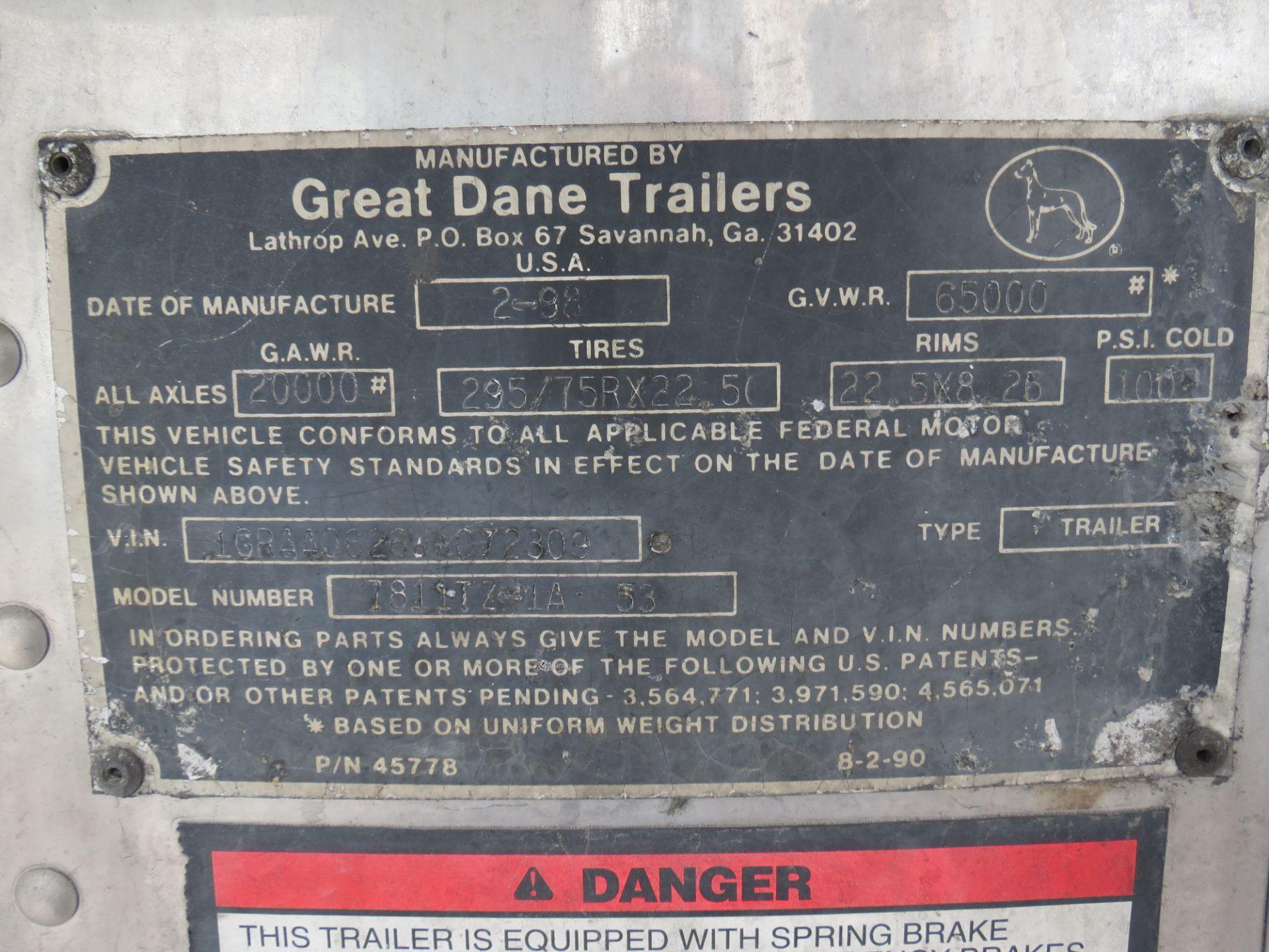 Lot 38 - 1998 Great Dane 53' Thermo King Smart Reefer #3 Trailer, VIN: 1GRAAD626WW072309, LIC: 4MJ2287