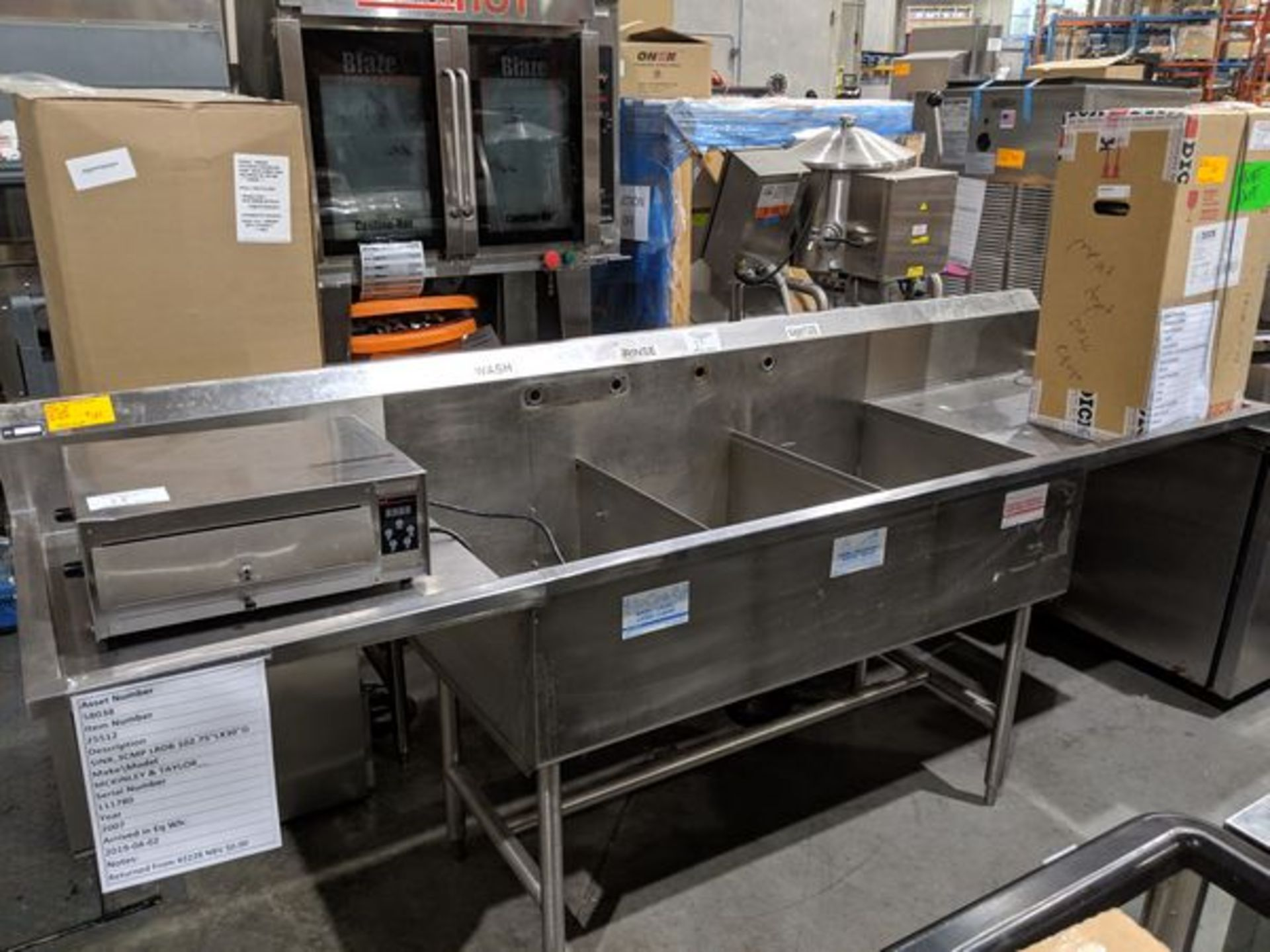 Lot 37 - 3 Compartment Stainless Steel Sink with 2 Run-offs - Custom Built - Approx Cost New $3400.00