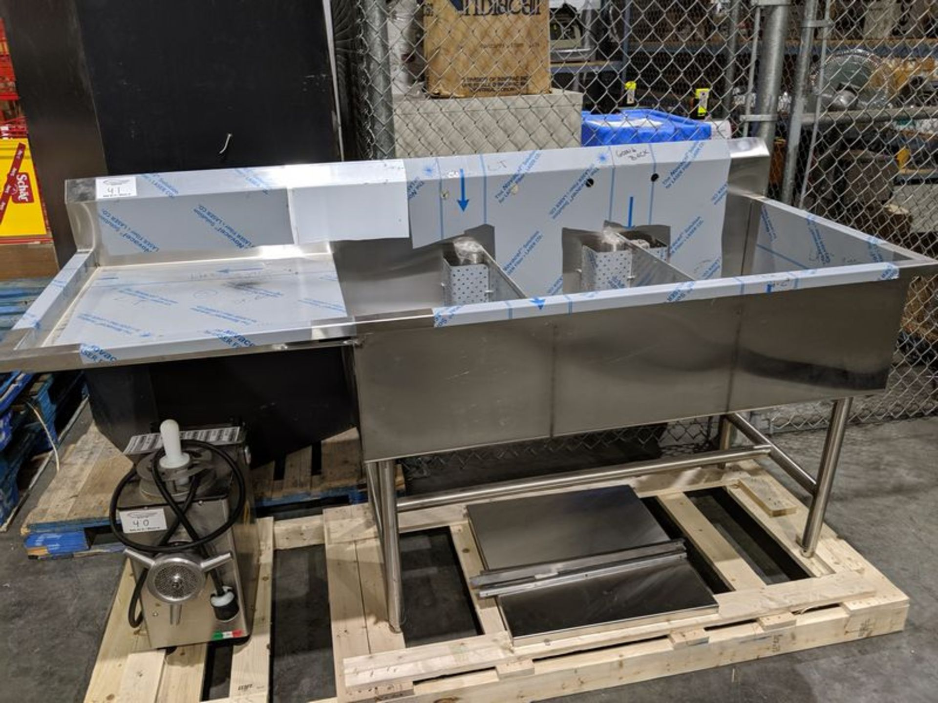 Lot 41 - New Custom 3 Compartment Stainless Steel Sink