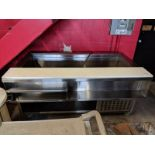 """Custom Built 68"""" Self Contained Refrigerated Open Top Prep Table on Casters"""