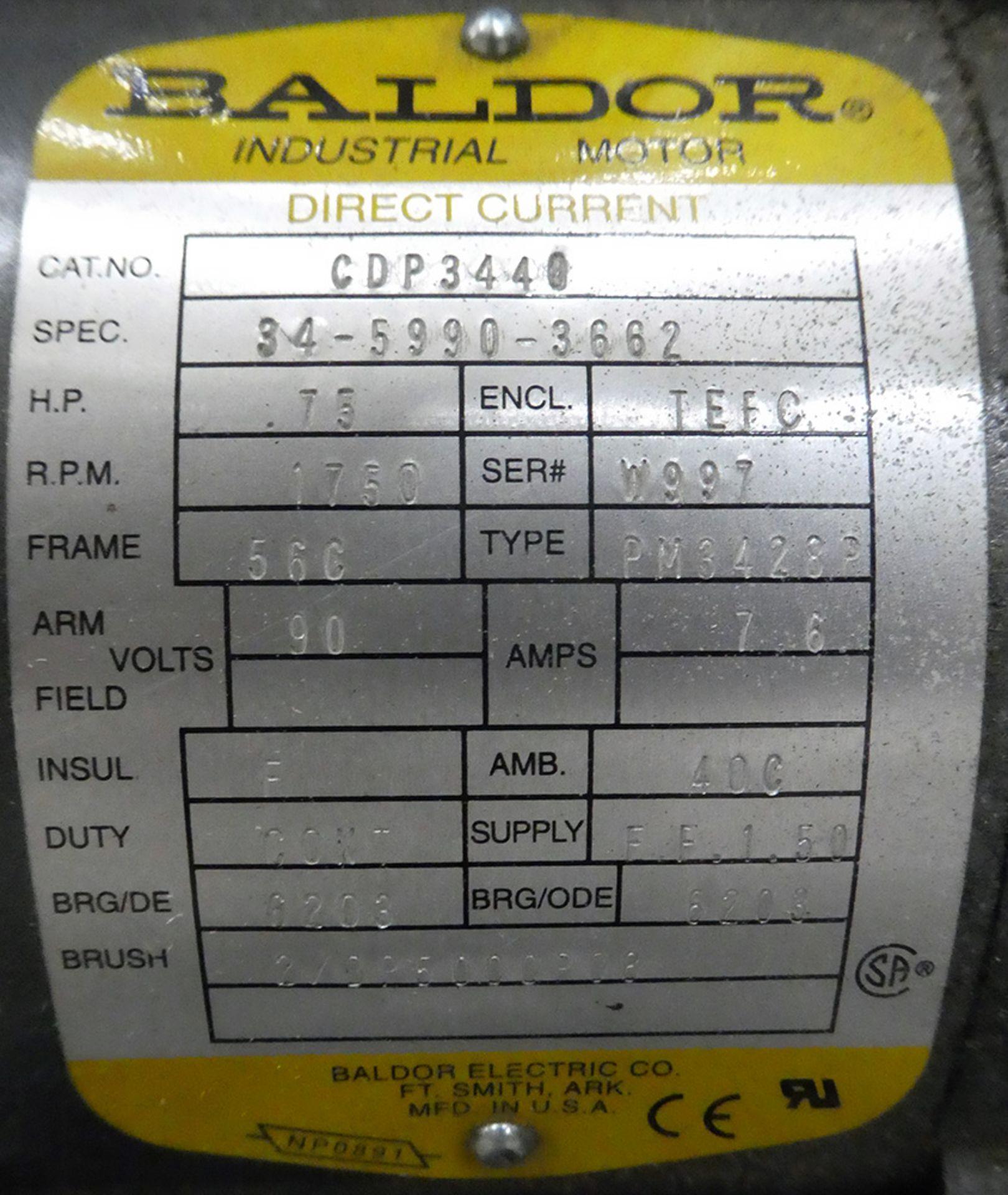 Lot 489 - 0.75 HP Baldor DC Gearmotor