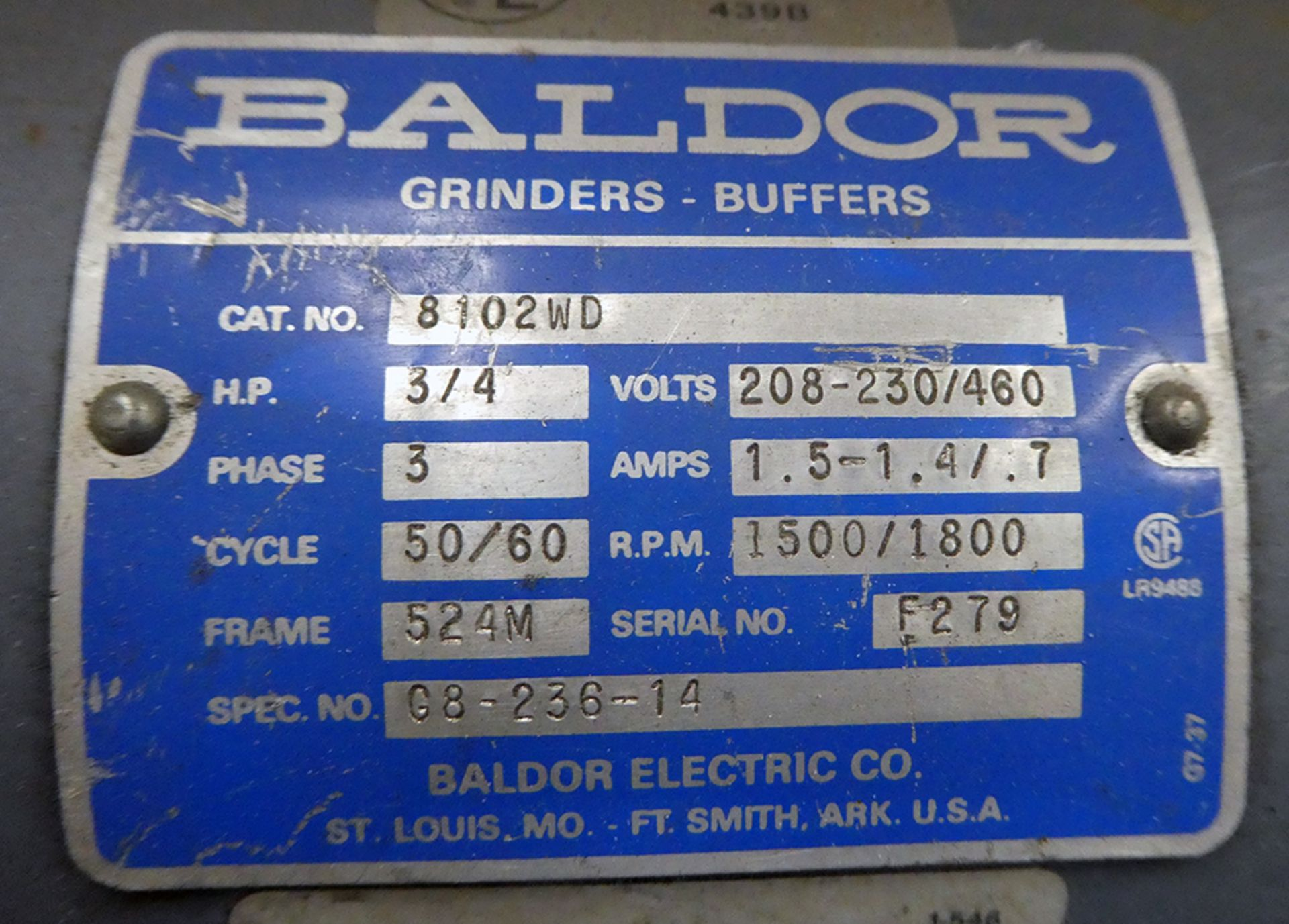 Lot 621 - Two (2) Baldor Pedestal Grinders