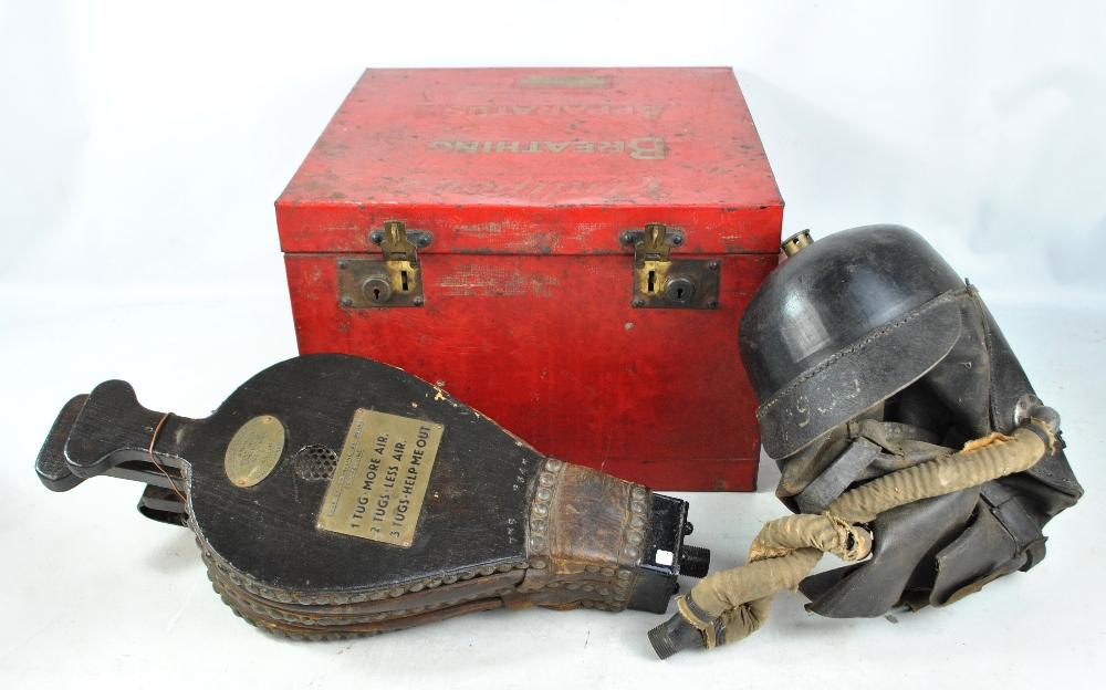 "A very rare circa 1900 miner's rescue helmet with plaque 'Siebe Gorman & Co Ltd Spirelmo ""B"" Smoke"