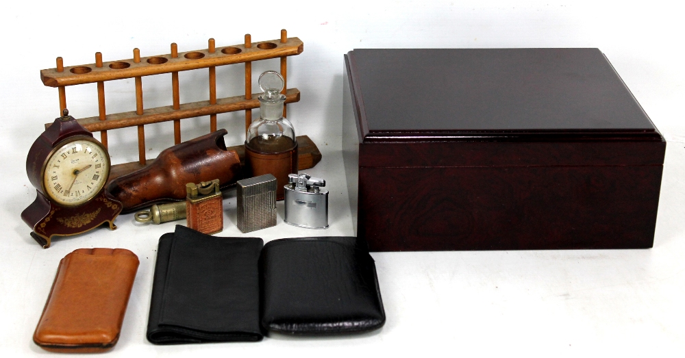Lot 2 - A modern 'Supreme' cherry burlwood finish humidor with hygrometer and humidifier, also a small group