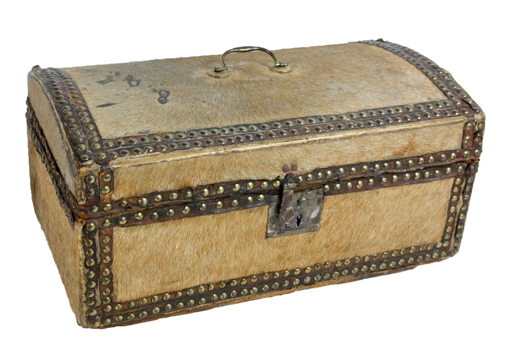 Lot 40A - A late 18th/early 19th century domed pony skin covered and brass stud decorated lidded casket with