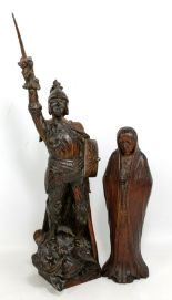 Lot 51 - An early 20th century carved oak figure of St George and the Dragon, height 56.5cm, and a further