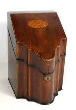 Lot 38A - A George III mahogany and inlaid serpentine outlined knife box converted to a stationery box, height