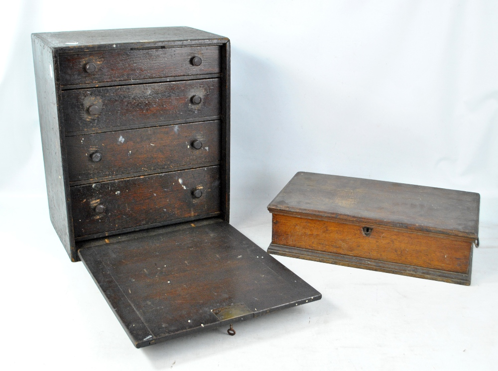 Lot 37 - An oak four drawer cabinet (af), width 38cm, and a further box (2).Additional InformationCabinet