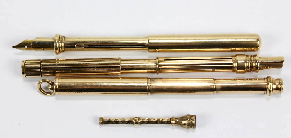 Lot 23 - SAMPSON MORDAN & CO; two gold plated propelling pencil and ink nib holder combinations, the slightly
