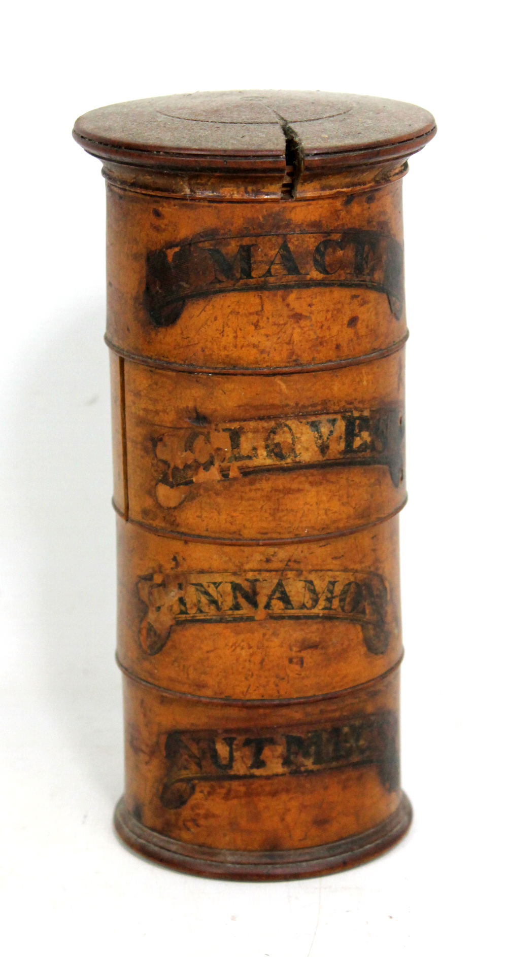 Lot 50 - A Victorian four tier cylindrical spice tower; 'Mace', 'Cloves', 'Cinnamon', and 'Nutmegs', height