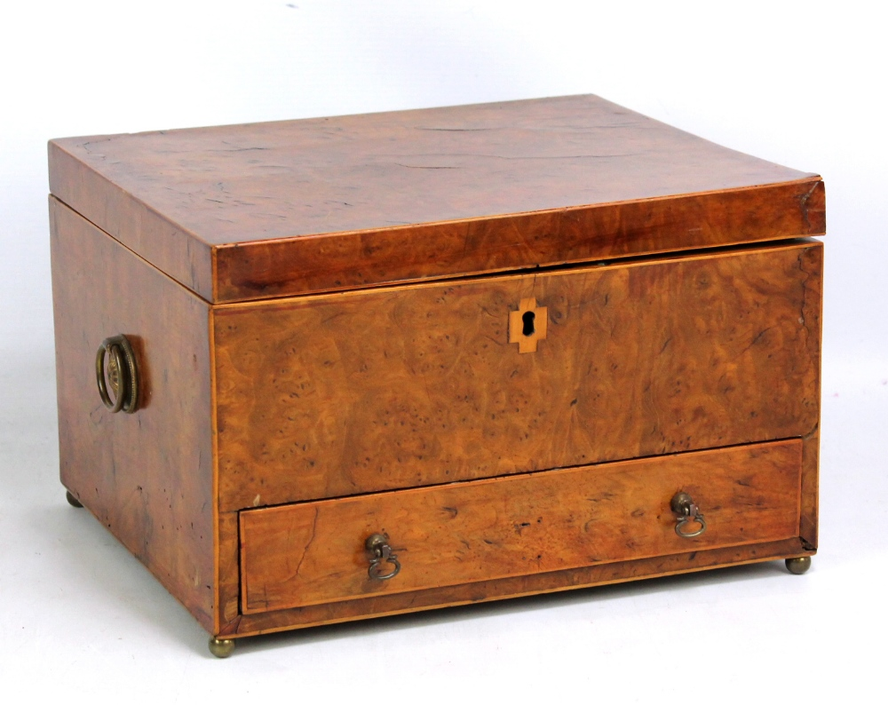 Lot 48 - A 19th century bird's eye maple sewing box containing various accoutrements and with drawer to base,