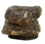 Lot 13 - A Victorian lacqueredpapier-mâché snuff box modelled as animal faeces, with hinged lid, length