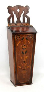 Lot 38 - A George III mahogany and inlaid candle box of tapering rectangular form with pierced upper