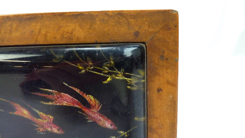 Lot 1 - DUNHILL; a rare Aquarium lighter and matching cigarette box, the perspex lighter decorated with