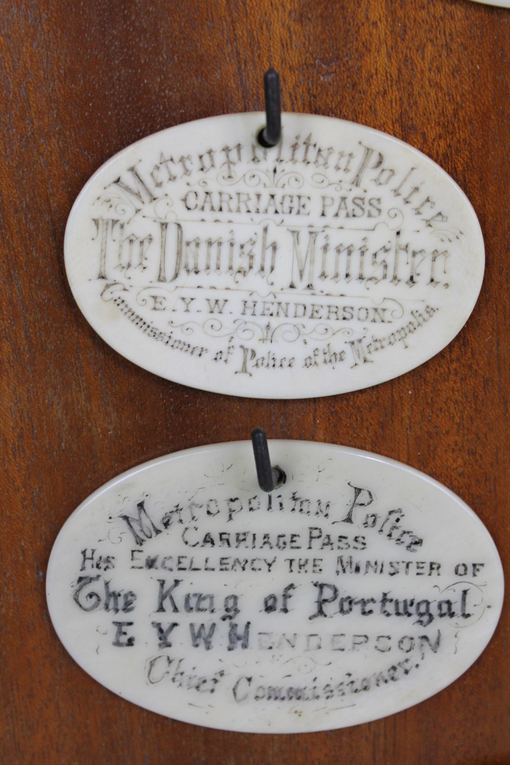 Lot 3 - An unusual group of six 19th century ivory carriage pass tokens, each inscribed for The Metropolitan