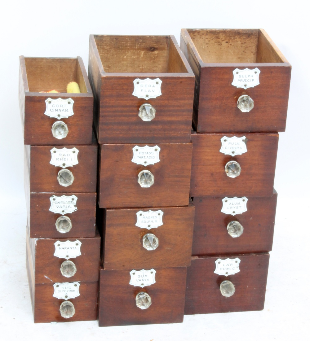 Lot 44 - Thirteen mahogany fronted apothecary drawers with glass handles and white enamelled named plaques (