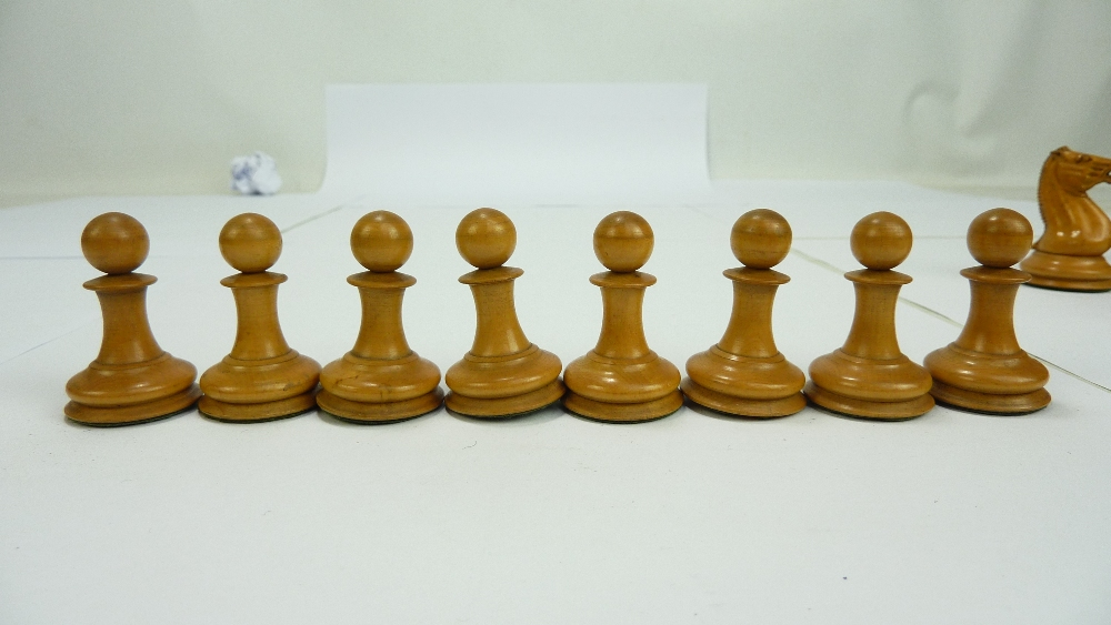 Lot 28 - A Jaques Staunton chess set, height of king 9cm, one black pawn associated (some pieces af),
