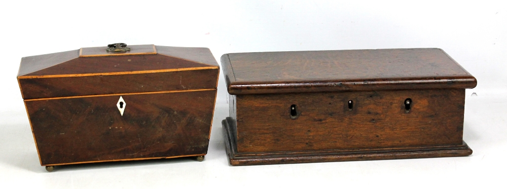 Lot 47 - An early 19th century mahogany boxwood strung sarcophagus tea caddy (interior replaced), width 28cm,
