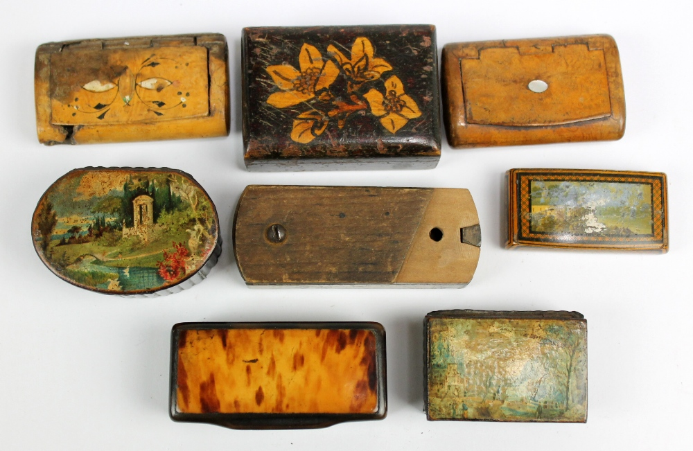 Lot 15 - A group of 19th century snuff boxes including horn and mulberry examples, two painted examples,