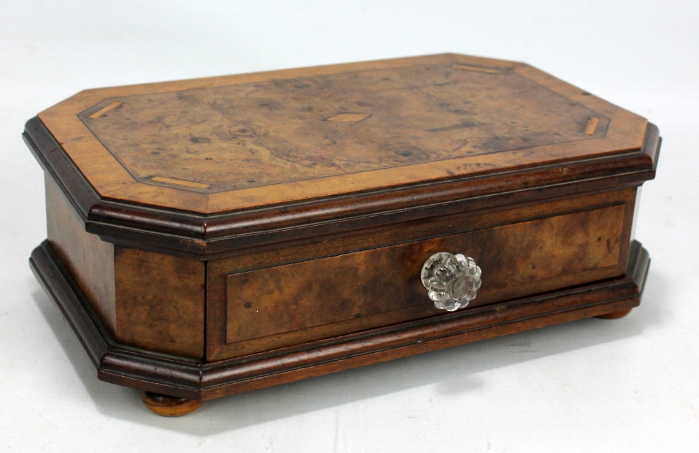 Lot 42 - A hexagonal walnut and burr walnut box with single drawer on four feet.Additional InformationGeneral